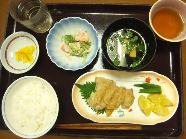 ご飯 鶏のおろしポン酢かけ ブロッコリーの味噌マヨ和え 漬物 すまし汁 <br>508kcal
