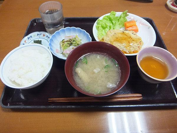ご飯 豆腐ハンバーグ 白菜の磯和え 漬物 豚汁 <br>499kcal